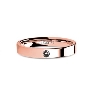 Mortal Kombat Dragon Emblem Engraved Rose Gold Tungsten Ring