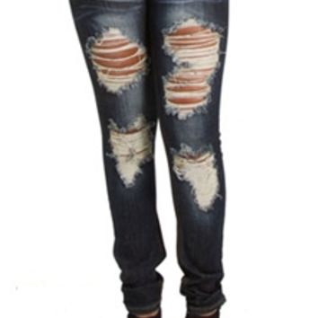 Machine Destructed Skinny Jeans with Dark Wash DMP-1A9715