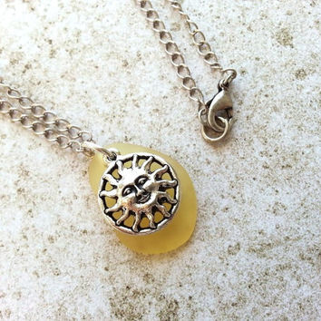 Yellow Sun Face Charm Necklace, Eco Friendly Recycled Glass Jewelry
