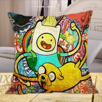 Adventure Time Jack and Finn on Square Pillow Cover