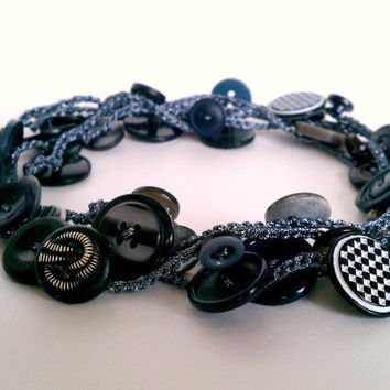 hand crocheted metallic button necklace or wrap bracelet - unique stretchy long gunmetal black crochet chain with vintage and new buttons