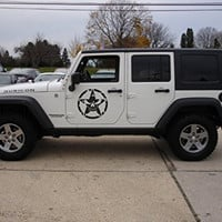 Jeep Star with Skull Vinyl Wall Words Decal Sticker Graphic
