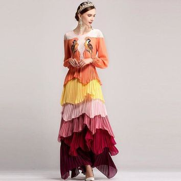 ICIKON3 ethnic long sleeve colored floral long maxi dress women bird embroidery appliques loose dress