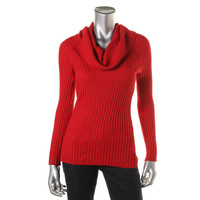 INC Womens Ribbed Knit Cowl Neck Pullover Sweater