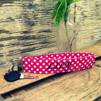 Monogrammed Gifts / Custom Monogrammed key fob wristlet / Personalized key fob / pink and white polka dots