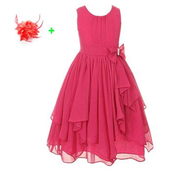 Kids party gown teenage chiffon tulle flower girl dress yellow red hot pink children 3 to 12 years old girls party dresses