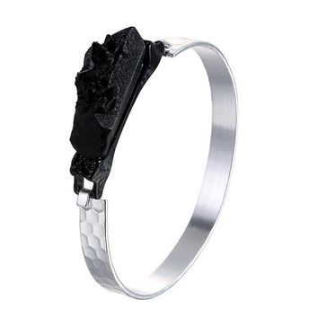 Stylish Shiny New Arrival Jewelry Korean Simple Design Metal Creative Black Resin Strong Character Ladies Ring Bangle [6047560129]