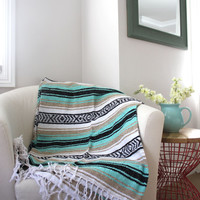 Sea foam Mint and Tan Mexican Beach Blanket Vintage Style