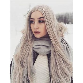 Grey Silver Long Straight Synthetic Lace Front Wig