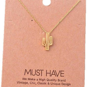 Must Have-Cactus Necklace, Gold