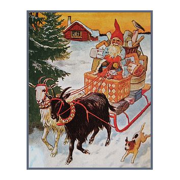 Elf Gnome Delivering Presents on Goat Sled Jenny Nystrom  Holiday Christmas Counted Cross Stitch Pattern