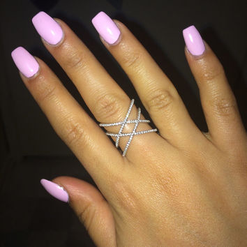 TALIANA // 18 Karat Rose Gold Double X Cross Star Statement Ring