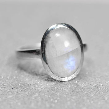 Sterling Silver Natural Oval Rainbow Moonstone Ring