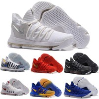 Newest Zoom KD 10 Anniversary PE Oreo Red Men Basketball Shoes KD 10 X Elite Low Kevin Durant Grade School Sport Sneakers