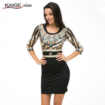 Kaige.Nina New Fashion Vestidos  Women  Sheath  leopard Three Quarter O-Neck Knee-Length Autumn Dress 1866#-3-5-7