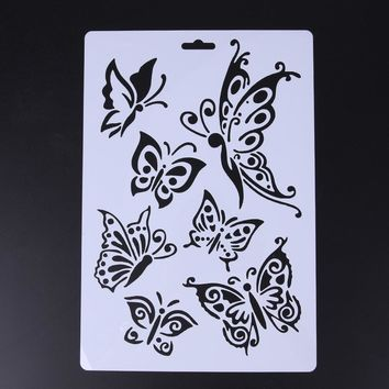 2PCS/LOT Butterfly Stencils for Wall Painting DIY Scrap booking Photo album Paper Card Craft Decorative Art Painting Supplies