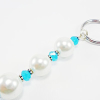 White Pearl Beaded Keychain, Car Keychain, Decorative Keychain, Beaded Accessories