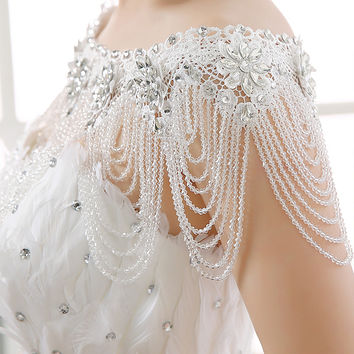 2016 Luxury Beaded Crystal LaceWedding Jacket Lebanon Arabic Shiny Rhinestone Bridal Wraps Lace Bolero wedding Accessories