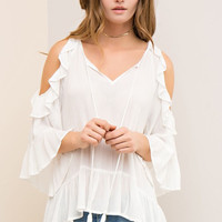 Open Shoulder Ruffle Top