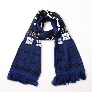 Brandnew Doctor Who TARDIS Design Deluxe double-layer Soft Warm Knitted Scarf Christmas Birthday Gifts (Color: Blue) = 1946441540