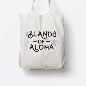 Hawaii State  Islands of Aloha Vintage Tote Bag