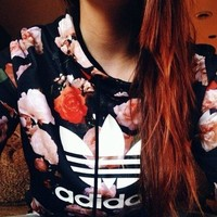 MM Adidas Women Long Sleeve Casual Top Pullover Floral Cotton Hoodie Sweatshirt Hoodie [11516584972]