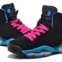 Hot Air Jordan 6 Retro Women Shoes Black Blue Pink