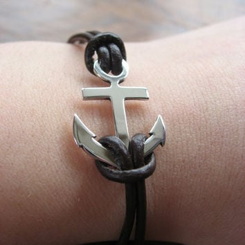 Handmade Silver Anchor Bracelet on a Leather Cord