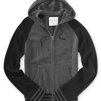 Hooded Full-Zip Raglan Sweater