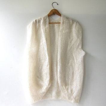 Vintage Cream Sleeveless Cardigan. Mohair Wool Cocoon Sweater. Oversized Modern Sweater Vest.