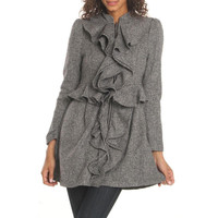 Ryu Womens Wool Ruffled Jacket