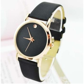 TOP Minimalist Women Watch Dot Golden PU Leather woman wristwatches Quartz Geneva Style Casual Dress Montre Student Reloj