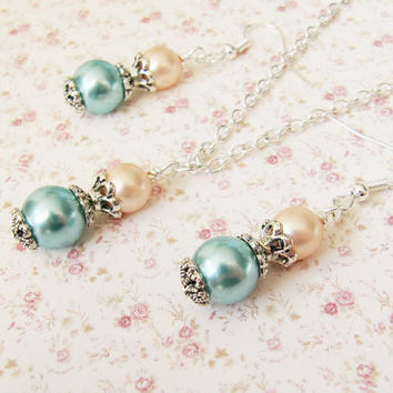 Blue and peach Bridesmaid Jewelry Set,Weddings,Bridesmaid gift,pearl,Maid of Honor,crystal