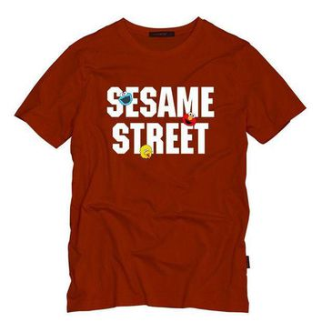 ESBON Sesame Street Adult T Shirt O-Neck Cotton Summer Mens T Shirts ELMO/BIG BIRD/COOKIE MONSTER Cartoon Print Tops T-Shirts Tees