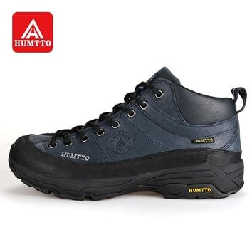 HUMTTO Winter Outdoor Hiking Shoes Men Lace-Up Leather Climbing Boots Rubber Sports Shoes Wearable & Warm Sneaker