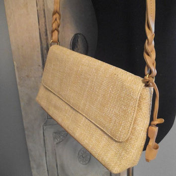 Vintage Etienne Aigner Straw Purse with Sandal ~ Straw shoulder Bag