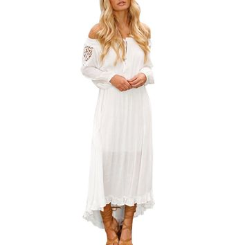 SHIPS FROM USA Spring Ladies Off Shoulder Dresses Women Casual Loose Boho Long Maxi Dress Women's