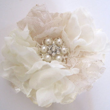 Ivory and Champagne Lace  Wedding Flower Hair Clip Bride, Mother of the Bride, Bridesmaids  with Pearl and Rhinestone Accent