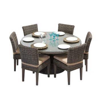 Cape Cod Vintage Stone 60 Inch Outdoor Patio Dining Table with 6 Armless Chairs