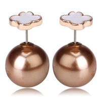 Mise en fashionista Style Tribal v.s Van Cleef Earrings - White & Metallic Bronze