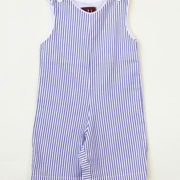 Lil Cactus Blue & White Stripe Shortalls - Infant & Toddler | zulily