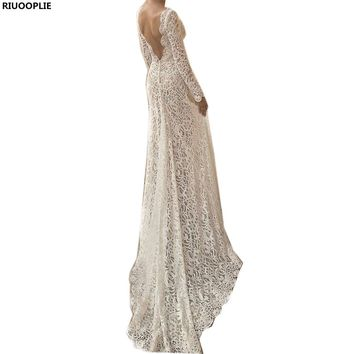 RIUOOPLIE  Lace V Neck Long Sleeve Wedding Bridesmaid Party Gown Dress