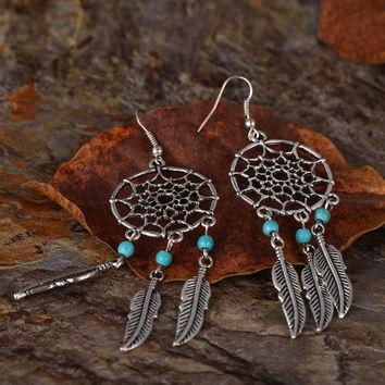 Elegant Tassel Pendant Earring Girl Eardrop Dangle Dreamcatcher Earrings (Size: 8 cm, Color: Silver) = 1958166276