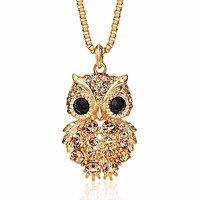 Crystal Owl Locket Pendent with Rhinestones - Long Necklace