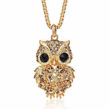 Retro Antique Style Alloy Rhinestone Crystal Owl Long Necklace