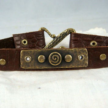 Brown Leather Bracelet ~ TierraCast Leather Bracelet ~ Brass Circles and Leather Bracelet ~ Unisex Leather Bracelet ~ Unisex Bracelet