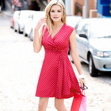 Polka Dot V-Neck Ruched Mini Dress