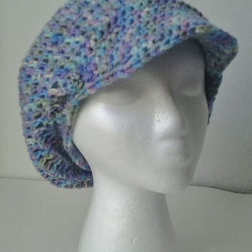 Crocheted Variegated Cammo Brimmed Slouchy Beret/Hat