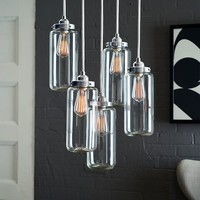 5-Jar Glass Chandelier - Brushed Nickel