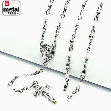 "Jewelry Kay style NEW Fashion Silver Pink 4mm Bead Guadalupe Jesus Cross 25"" Rosary HR 700 SSLP"